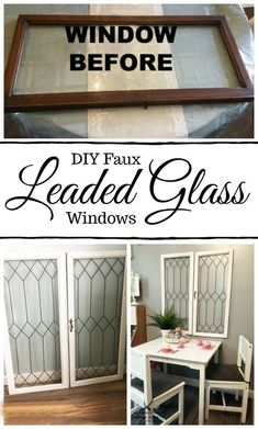 Did you know you can create faux leaded glass windows? This full tutorial will show you how to turn regular windows into these vintage inspired beauties Vintage Windows, Old Windows, Antique Windows, Leaded Glass Windows, Painted Glass Windows, Etched Glass Windows, Painting On Glass Windows, Window Paint, Transom Windows