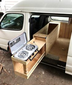 The kitchen setup is coming along nicely! Cant wait to cook outdoors Van Conversion Interior, Camper Van Conversion Diy, Van Interior, Mini Camper, Camper Life, Toyota Hiace Campervan, Kangoo Camper, Kombi Motorhome, Kombi Home