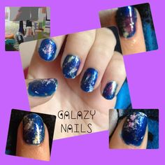 Galaxy nailz all u have to do is Get pink green white glitter and blue/black nail polish Paint a blue/black base coat Get a piece if toilet paper or a piece if for and lightly dab the green white and pink in that order on ur nail  Paint the glitter over it Finish with a top coat