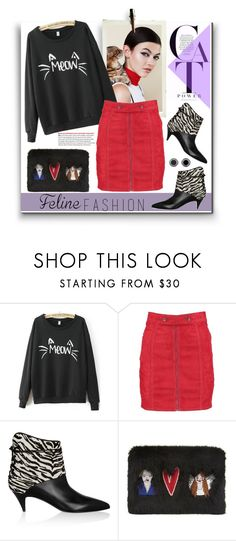 """216. Cat Power"" by milva-bg ❤ liked on Polyvore featuring Kane, Boohoo, Yves Saint Laurent, Shrimps and Scott Kay"