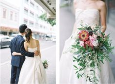 Wedding Bouquets, Wedding Dresses, Hawaiian, One Shoulder Wedding Dress, Wedding Photos, Romantic, Bridal, Flowers, Photography
