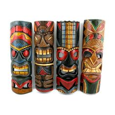 Great decor for my at home Tiki Bar. Tiki Tattoo, Tiki Maske, Tiki Faces, Totems, Tiki Head, Tiki Art, Tiki Tiki, Tiki Decor, Tiki Totem