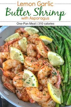 Lemon Garlic Butter Shrimp with Asparagus – this is an easy, light and healthy dinner option that can be on your table in 15 minutes. Buttery shrimp and asparagus flavored with lemon juice and garlic. Buttery Shrimp, Lemon Garlic Butter Shrimp, Garlic Shrimp Recipes, Shrimp Dinner Recipes, Lemon Recipes Dinner, Lemon Pepper Shrimp, Low Carb Shrimp Recipes, Fish Recipes, Seafood Recipes