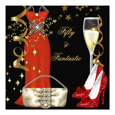 50 Fantastic Red Dress Black Gold Birthday Party Invitation