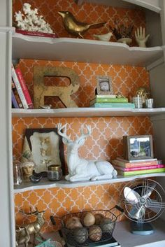 A Little Glass Box Standing Tall Hutch Redo By Backing The Shelving With Painted Cardboard