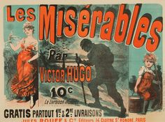 Amazon.com: Les Miserables Vintage Poster (artist: Cheret) France c. 1886 (12x18 Art Print, Wall Decor Travel Poster): Arts, Crafts & Sewing