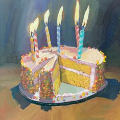 birthday cake with candles Food Painting, Painting & Drawing, Artist Painting, Pretty Art, Cute Art, Painting Inspiration, Art Inspo, Art Sketchbook, Aesthetic Art