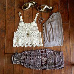 Summer Fashion Inspiration. Lace tank, birkenstocks, aladdin pants, harem pants, thai pants