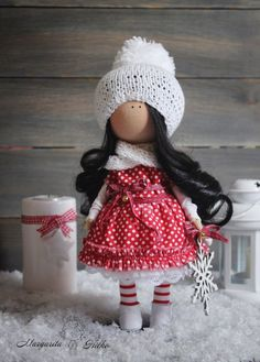 Christmas doll brunette red black Decor doll by AnnKirillartPlace