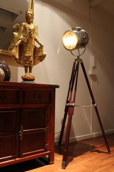 Signal Light - Tripod Floor Lamp in brown base