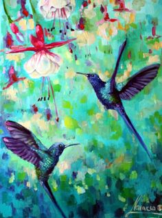 """ARTFINDER: """"Humming birds and fuchsias"""" by Lena Navarro - So bright and sweet! Original oil painting on canvas! This painting will make a wonderful gift."""