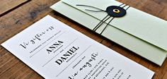 Letterpressed invite and custom made envelope by Pretty Paper, Sweden.
