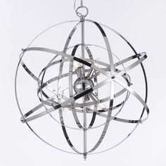 Create a distinctive look in your dining room with this Foucault's Orb chrome chandelier light fixture. The large fixture features an uncommon orb design with numerous rings around it for an eye-catch Sputnik Chandelier, Chandelier Lighting, Iron Chandeliers, Bathroom Chandelier, Home Design, Modern Design, Lustre Globe, Compact Fluorescent Bulbs, Macros