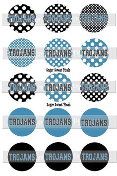INSTANT DOWNLOAD Black  Columbia Blue Trojan Dot by sugarnspicebow