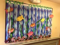 Christian Bulletin Board Ideas | Ocean theme ~~~ 'Ocean Commotion' crepe paper 'waves & currents'.