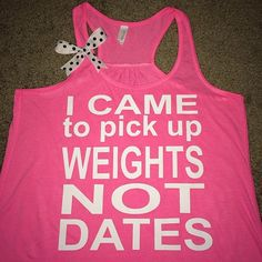 I Came to Pick up Weights not Dates - Tank - Ruffles with Love - Womens Fitness Clothing Neon pink tank, white lettering complete with a white and black polka dot bow! 65% polyester/35% viscose 30 sin