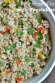 Dirty Brown Rice with Vegetables - Packed with flavor!  A meal in itself with the added ground turkey as well.  A fabulous healthy lunch idea for the whole week!