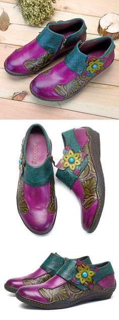 SOCOFY Printing Splicing Plant Pattern Hook Loop Flat Leather Shoes. #women #fashion #shoes