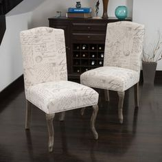 Shop for Crown Top French Script Beige Fabric Dining Chair (Set of 2) by Christopher Knight Home. Get free shipping at Overstock.com - Your Online Furniture Outlet Store! Get 5% in rewards with Club O! - 15994609