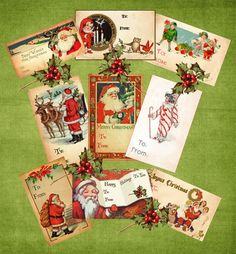 Vintage Christmas Gift Tags Digital Download by chocolaterabbit, $2.25