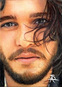 Original portrait of Kit Harington Jon Snow Game of Thrones by Antoinette Sajaf