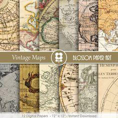 Maps Digital Paper, Maps Digital Paper Pack Old Maps Vintage Scrapbooking INSTANT DOWNLOAD  Use for Scrapbooking, Cardmaking, Handmade