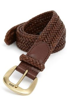Polo Ralph Lauren Leather Belt at Nordstrom.com. An antiqued buckle subtly engraved with logo initials punctuates a woven leather belt.