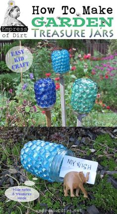 garden art ideas how to make garden treasure jars easy kid x 1100 186 kb jpeg x Diy Art Projects, Garden Projects, Projects For Kids, Garden Ideas, Art Crafts, Easy Crafts For Kids, Easy Diy Crafts, Recycled Crafts, Garden Crafts For Kids