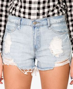 Destroyed Denim Cutoff Shorts - $17.80
