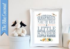 Grandparents make the world a little softer ...deco DIY printable  typography poster art print home decor INSTANT DOWNLOAD