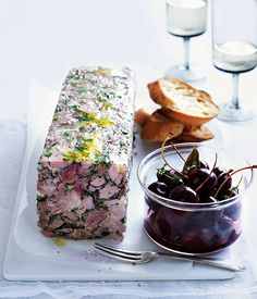 Australian Gourmet Traveller recipe for pork and parsley terrine with pickled cherries. Mousse, Pork Recipes, Cooking Recipes, Recipies, Pickled Cherries, Tapas, Charcuterie, Ceviche, Appetisers