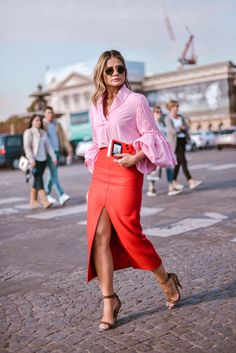 redColors pinkColors colorfulColors leatherMaterial sweaterOuterwear skirtBottom teaSkirtBottom longSleeveTop blouseTop springSeason dateOccasion feminineStyle mildWeather tea length skirt slit colorful bright flirty stilettos