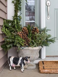 Complete with fresh greens, white lights, woody twigs, and sugar pine cones. I used juniper with berries and got creative with swags of fresh greenery to put in the concrete urn pots next to the front door. The finishing touches were some wreaths and of c Christmas Urns, Christmas Planters, Country Christmas Decorations, Farmhouse Christmas Decor, Farmhouse Style Decorating, Outdoor Christmas, Rustic Christmas, Xmas Decorations, Winter Christmas