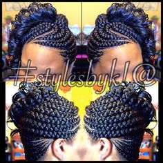 Jumbo feed in braid / Ghana braid updo