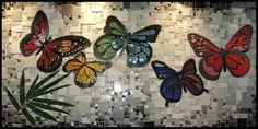 Mosaic Mural in Curitiba, Brasil by Jaton Mosaic Studio Butterfly Mosaic, Mosaic Birds, Mosaic Wall Art, Mosaic Glass, Glass Art, Mosaic Crafts, Mosaic Projects, Stained Glass Projects, Mosaic Madness