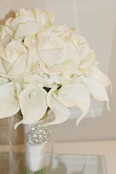 Real touch artificial white call lily and rose bridal bouquet.