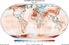 Global map of the GISTEMP land-ocean temperature index anomaly for May 2017, relative to the 1951-1980 average
