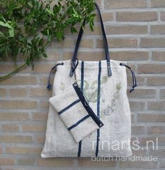 Tote made from vintage grain sack