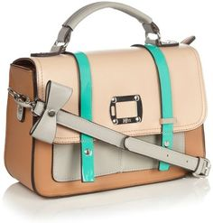 Beige Colour Blocked Satchel - H! by Henry Holland - Polyvore