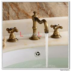 Vintage Antique Brass Three Hole Cross Handle Bathroom Faucet ...