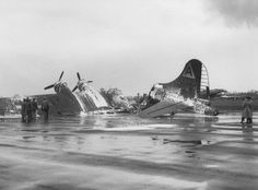 Lucky 13 of the Bomb Group after crash landing and burning at Bassingbourn, 5 April 1944 United States Army, Wwii, Air Force, Aviation, Germany, England, Military, Cold War, Instagram