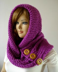 Knitting Hood Cowl Scarf with buttons - Loulou Kiss -
