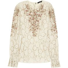 Dolce & Gabbana Embellished lace top (€1.930) ❤ liked on Polyvore featuring tops, blouses, shirts, blusas, shirts & blouses, cream shirt, cream lace shirt, white lace top and lace blouse