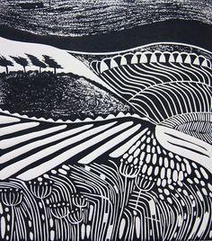 black and white lino cut landscape prints - Google Search