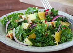 Hearty ingredients and a bold, sweet vinaigrette enhance this kale salad.