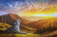 WOLF oil painting on canvas 24x36 (61 x 91 cm) artist RUSTY RUST / W-69 #WILDLIFEanimalREALISTICrealism