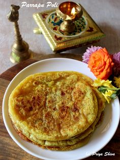 Parrapu Poli - Delicious stuffed flat bread where suffing made with lentil, coconut and jaggery for #Sankranti #Pongal #festival .. It is also known as Holige Obbattu or Puran Poli
