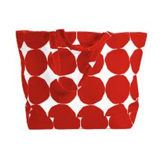 """Opaali Red Circle Tote by Marimekko: 15 x 21 x 7"""" with 18.5"""" straps."""