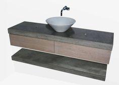 badmeubel beton en geborsteld eikenhouten lades solidus ermelo