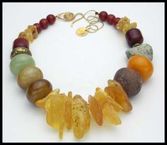 GOLDEN AMBER - Amber - Jade - Ancient African Clay Spindle Whorl - 1 of a Kind Statement Necklace